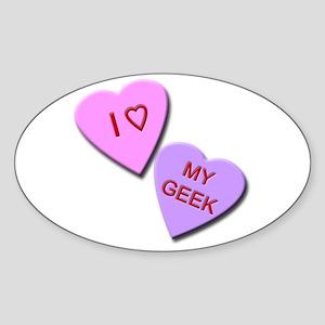 I Heart My Geek Oval Sticker