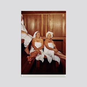 Sauna Girlfriends in Towels Rectangle Magnet