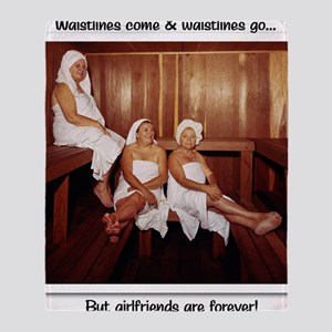 Sauna Girlfriends in Towels Throw Blanket
