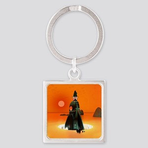 Planet Inferno Launch Square Keychain
