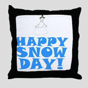 ART HAPPY SNOW DAY Throw Pillow