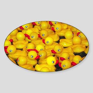 Cute yellow rubber duckies Sticker (Oval)