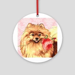 Pomeranian Rose Ornament (Round)