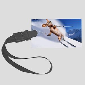 tiger skiing16x16 Large Luggage Tag