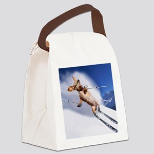 tiger skiing16x16 Canvas Lunch Bag