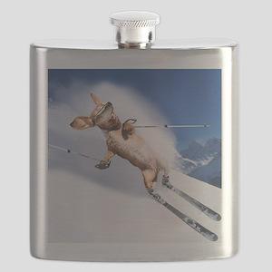 tiger skiing16x16 Flask