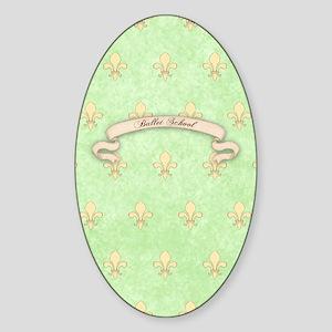 Green Fleur de lis ballet School Jo Sticker (Oval)