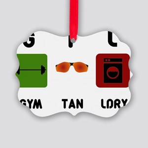 gym-tan-laundry-black-text Picture Ornament