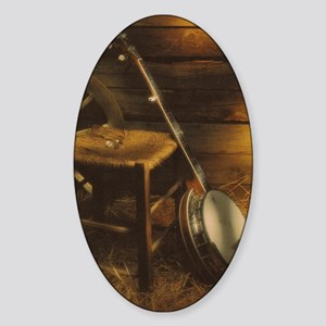 Banjo Picture Larger Sticker (Oval)