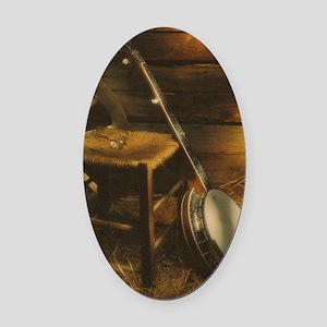 Banjo Picture Larger Oval Car Magnet