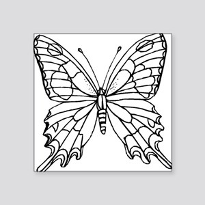 """butterfly coloring Square Sticker 3"""" x 3"""""""
