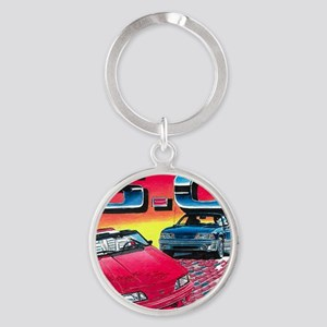 Mustang% Round Keychain