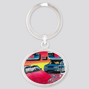 Mustang% Oval Keychain