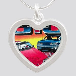 Mustang% Silver Heart Necklace