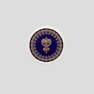 blueheartmandala3 Mini Button