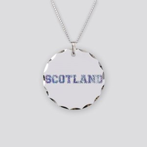 Blue Scotland typography Necklace Circle Charm