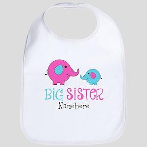 Personalized Big Sister Elephant Bib