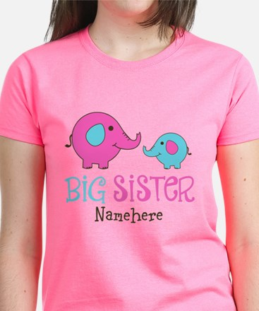 Personalized Big Sister Elephant Women's Dark T-Sh