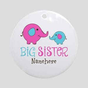 Personalized Big Sister Elephant Ornament (Round)