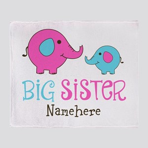 Personalized Big Sister Elephant Throw Blanket
