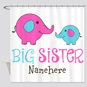 Personalized Big Sister Elephant Shower Curtain