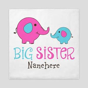 Personalized Big Sister Elephant Queen Duvet