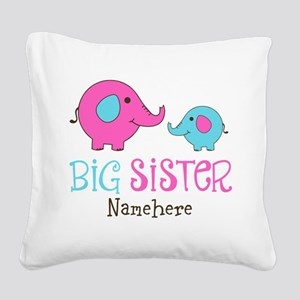 Personalized Big Sister Elephant Square Canvas Pil