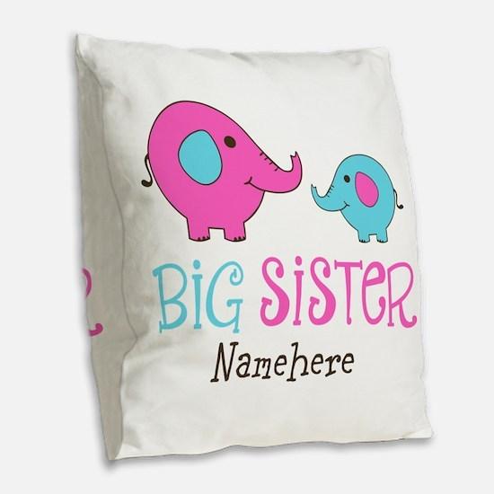 Personalized Big Sister Elephant Burlap Throw Pill