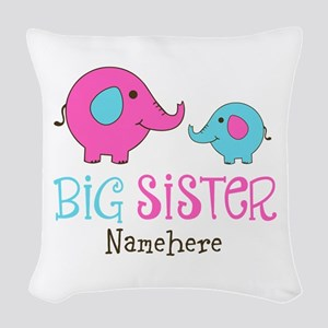 Personalized Big Sister Elephant Woven Throw Pillo