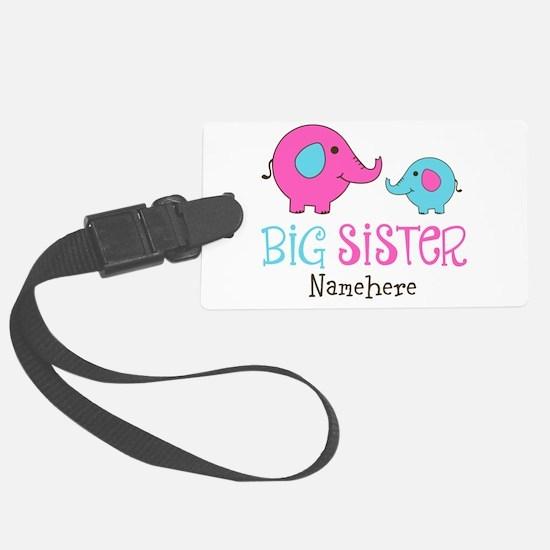 Personalized Big Sister Elephant Luggage Tag
