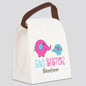 Personalized Big Sister Elephant Canvas Lunch Bag