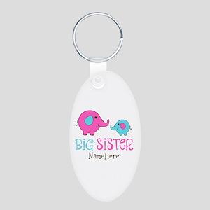 Personalized Big Sister Elephant Aluminum Oval Key