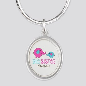 Personalized Big Sister Elephant Silver Oval Neckl