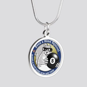 8-Ball Blind Squirrel Silver Round Necklace