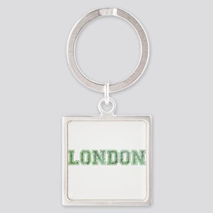 London text in green Keychains