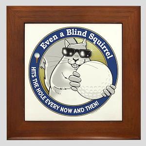 Golf Blind Squirrel Framed Tile
