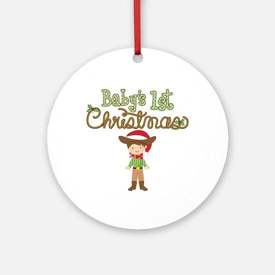 1st Christmas Cowboy Ornament (Round)