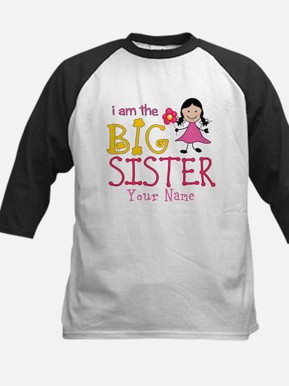 Stick Figure Flower Big Sister Kids Baseball Jerse