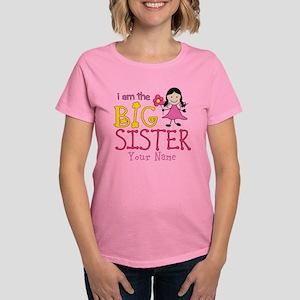 Stick Figure Flower Big Sister Women's Dark T-Shir