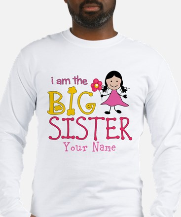 Stick Figure Flower Big Sister Long Sleeve T-Shirt