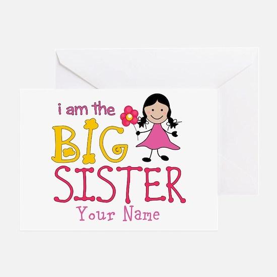 Stick Figure Flower Big Sister Greeting Card