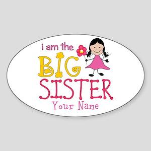 Stick Figure Flower Big Sister Sticker (Oval)