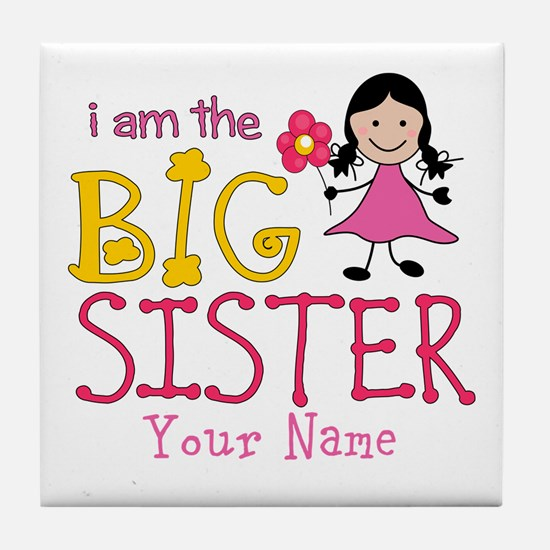 Stick Figure Flower Big Sister Tile Coaster
