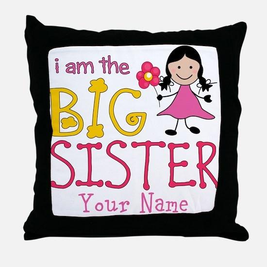 Stick Figure Flower Big Sister Throw Pillow