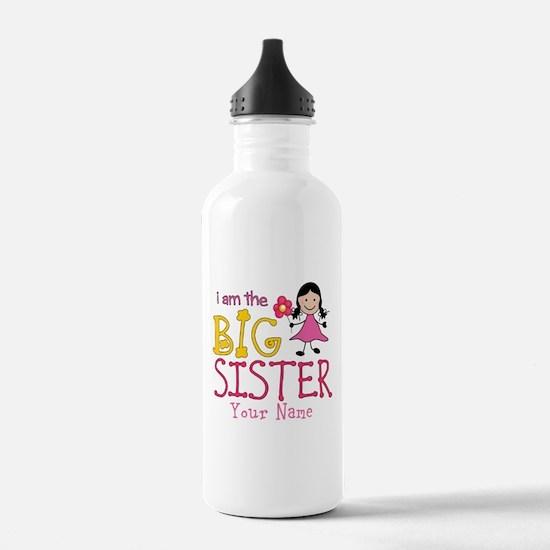 Stick Figure Flower Big Sister Water Bottle