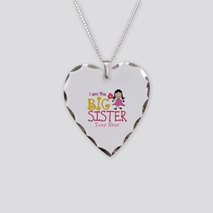 Stick Figure Flower Big Sister Necklace Heart Char