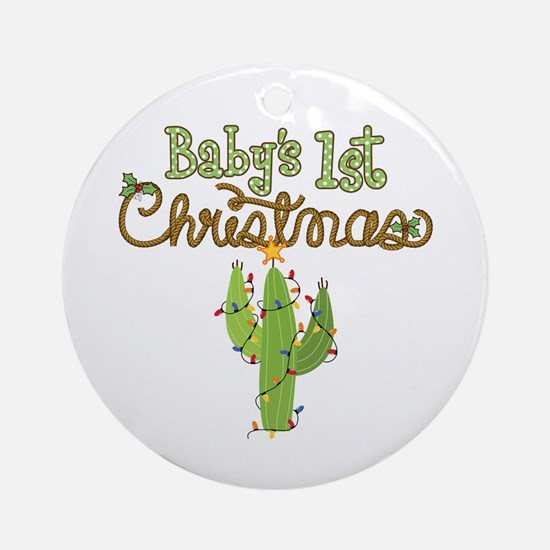 Western 1st Christmas Ornament (Round)