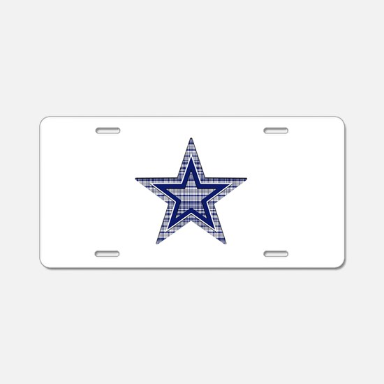Blue and Silver Plaid Aluminum License Plate