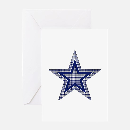 Blue and Silver Plaid Greeting Cards