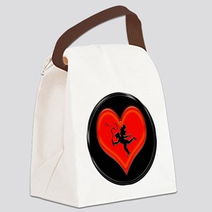 cupid black heart and whip Canvas Lunch Bag